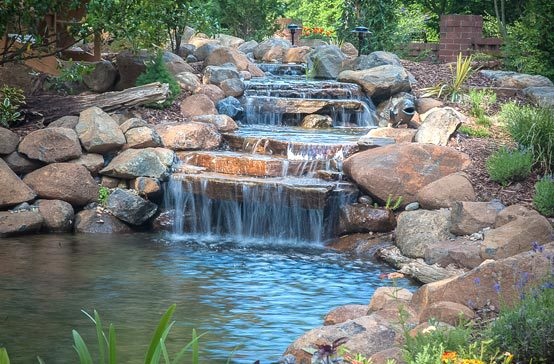 Southern Greenscapes Landscape Design & Construction | Rock Hill, SC | lighted water feature