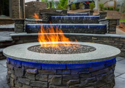 Southern Greenscapes Landscape Design & Construction | Rock Hill, SC | water feature with patio and fire pit